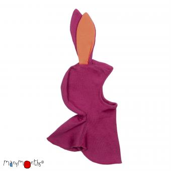 ManyMonths Unique Elephant hood with Bunny Ears, Schalmütze mit Hasenohren - Frosted Berry