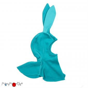 ManyMonths Unique Elephant hood with Bunny Ears, Schalmütze mit Hasenohren - Royal Turquoise